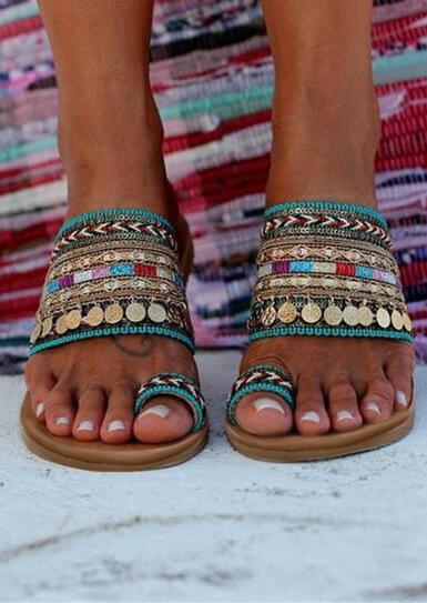 Bohemian Sequined Flat Sandals - Multicolor