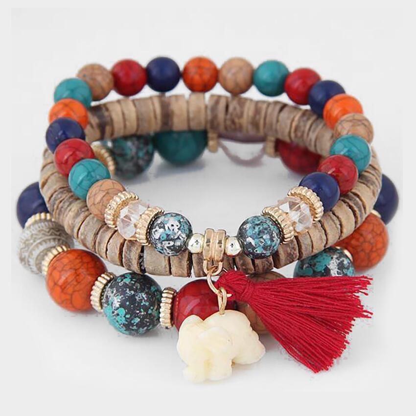 Elephant Tassel Bead Bracelet