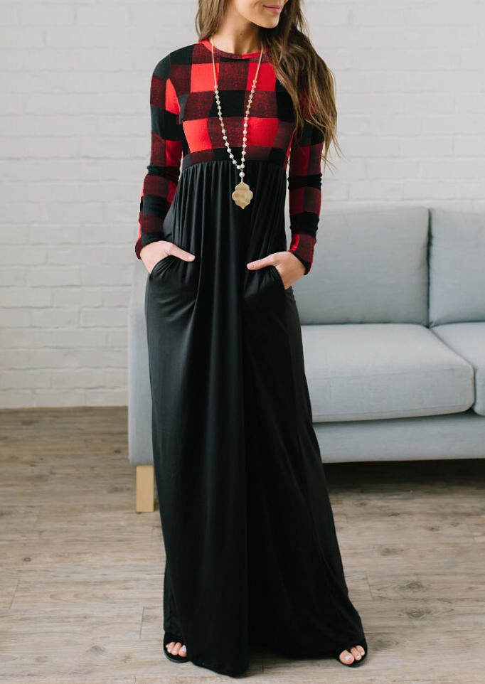 Plaid Splicing Pocket Long Sleeve Maxi Dress without Necklace - Red