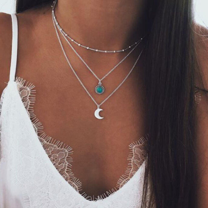 Vintage Turquoise Moon Multi-Layer Necklace