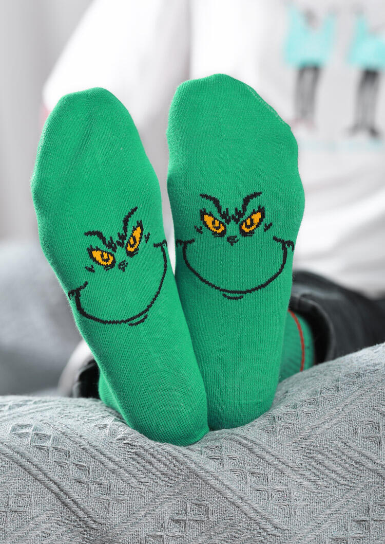 Christmas Funny Grinch Cartoon Graphic Socks
