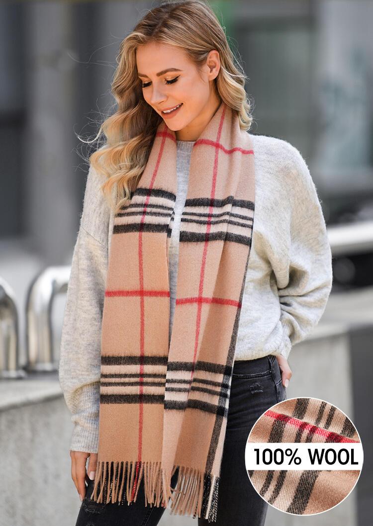 Feelily Plaid Tartan Tassel Soft Classic 100% Wool Scarf