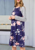 Floral Striped Splicing O-Neck Casual Dress - Blue