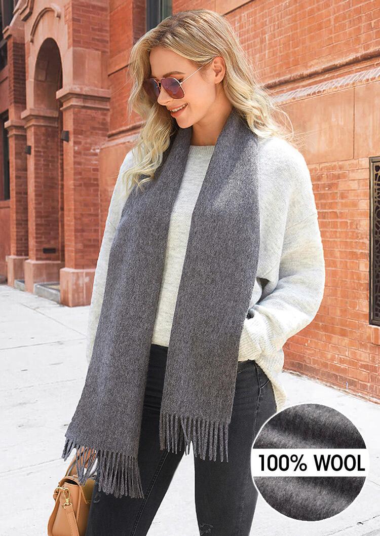 Feelily Solid Tassel Soft Classic 100% Wool Scarf