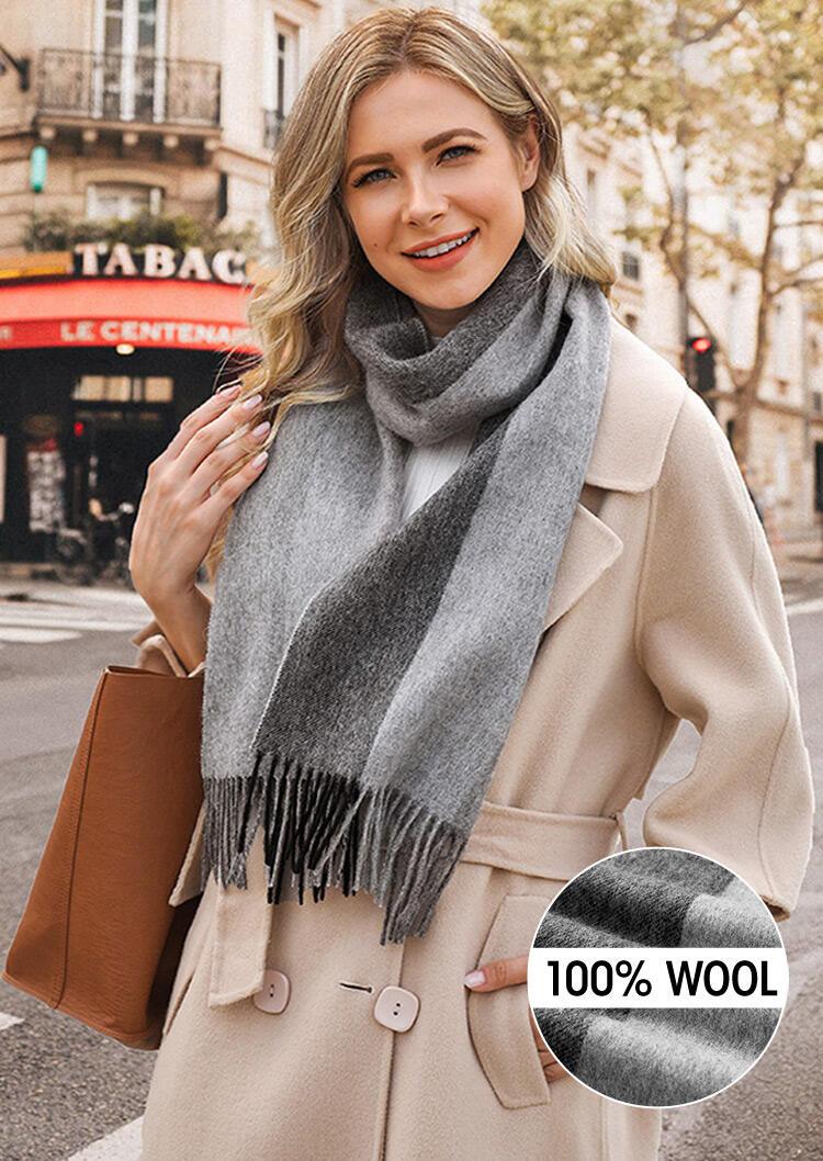 Feelily Striped Color Block Tassel Soft 100% Wool Scarf
