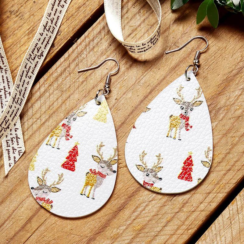 Christmas Tree Elk Printed Leather Earrings