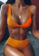 Color Block Bikini Set without Necklace - Yellow