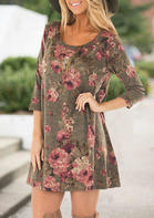 Floral Three Quarter Sleeve Mini Dress without Necklace - Coffee
