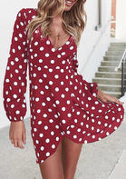 Polka Dot Irregular V-Neck Mini Dress without Necklace - Burgundy