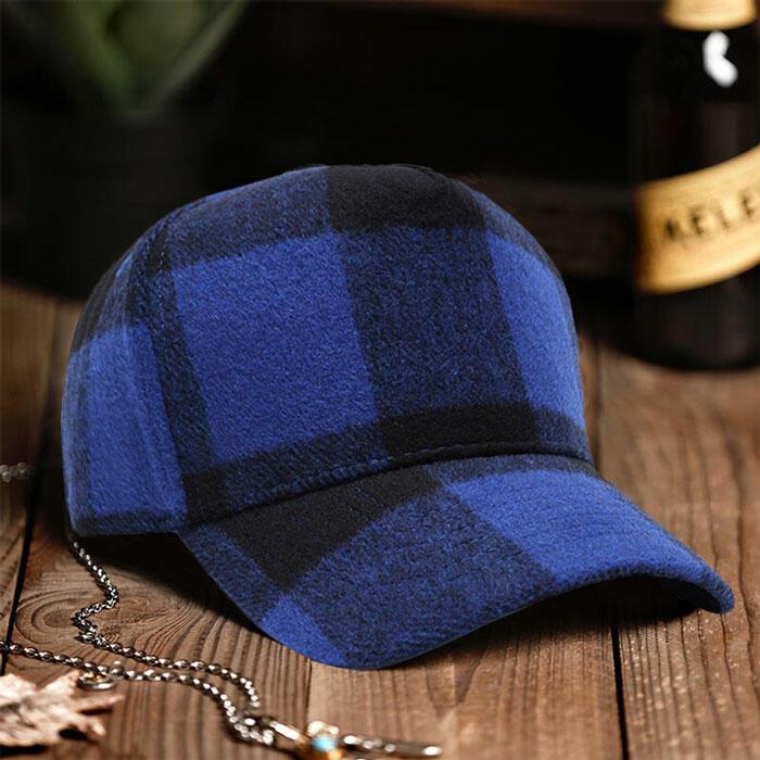 Plaid Adjustable Buckle Strap Baseball Cap -Blue