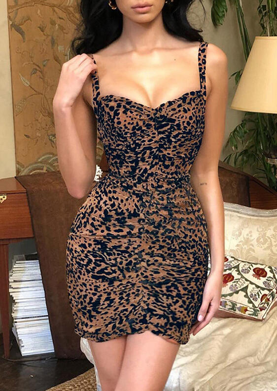 Leopard Printed Ruffled Bodycon Dress