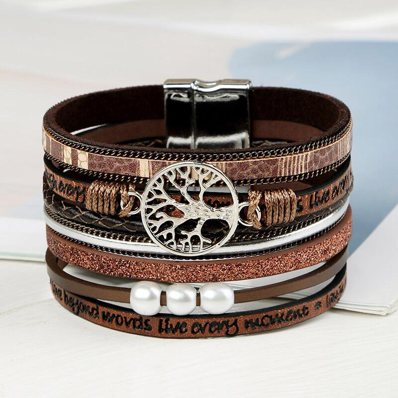 Magnet Buckle Pearl Leather Bracelet