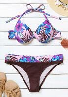 Floral Halter Open Back Bikini Set - Pink