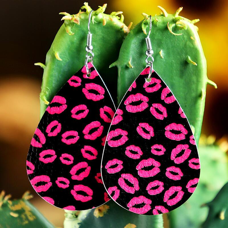 Lips Printed PU Leather Earrings
