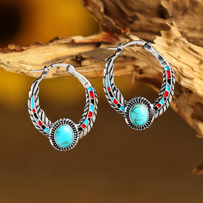 Vintage Turquoise Feather Round Earrings