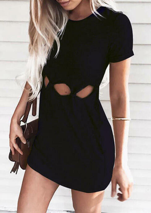 Solid Hollow Out Bodycon Dress - Black