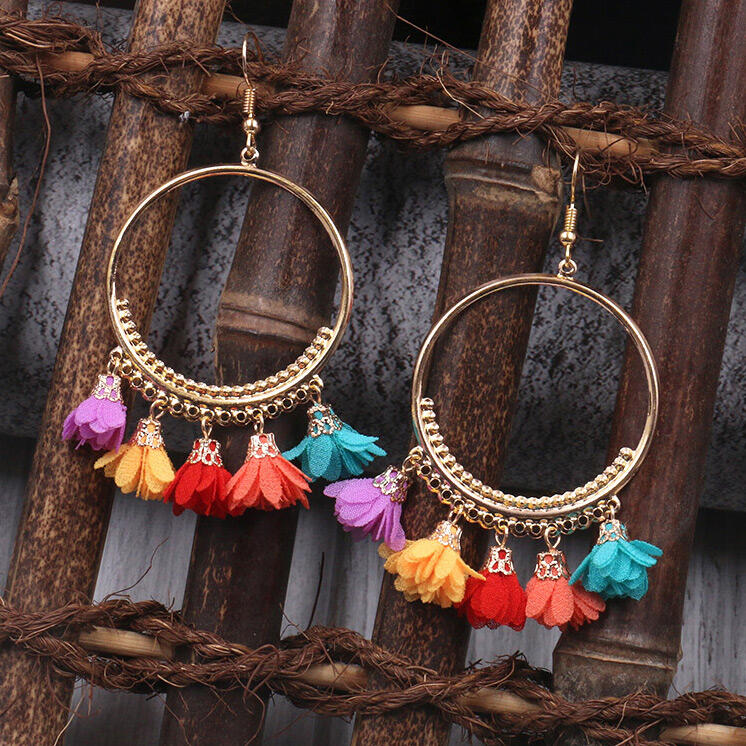 Bohemian Large Ring Flower Alloy Earrings