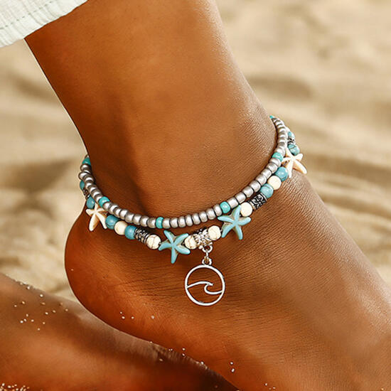 Bohemian Turquoise Starfish Dual-Layered Anklet