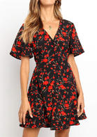 Floral V-Neck Mini Dress without Necklace - Black