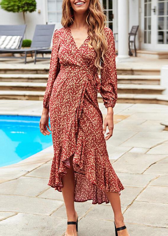 Printed Asymmetric Tie Casual Dress - Burgundy