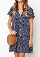 Printed Button V-Neck Mini Dress - Navy Blue