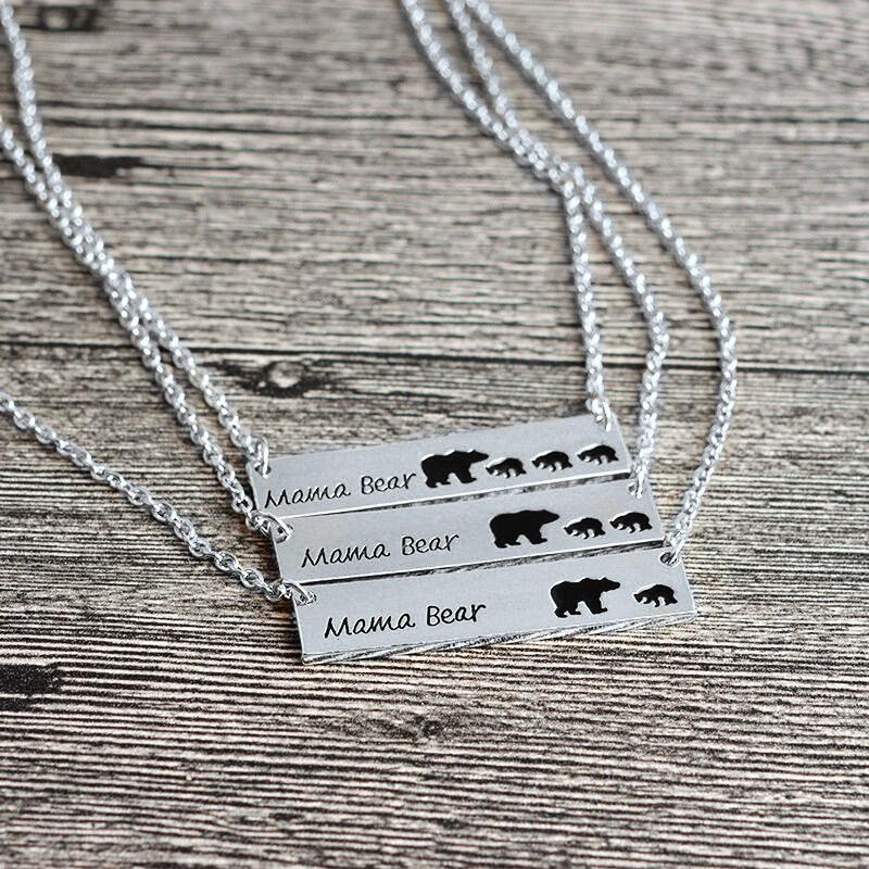 Mama Bear Pendant Alloy Necklace