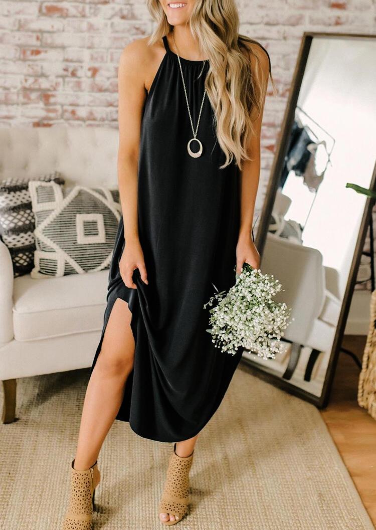 Halter Asymmetric Slit Casual Dress without Necklace - Black
