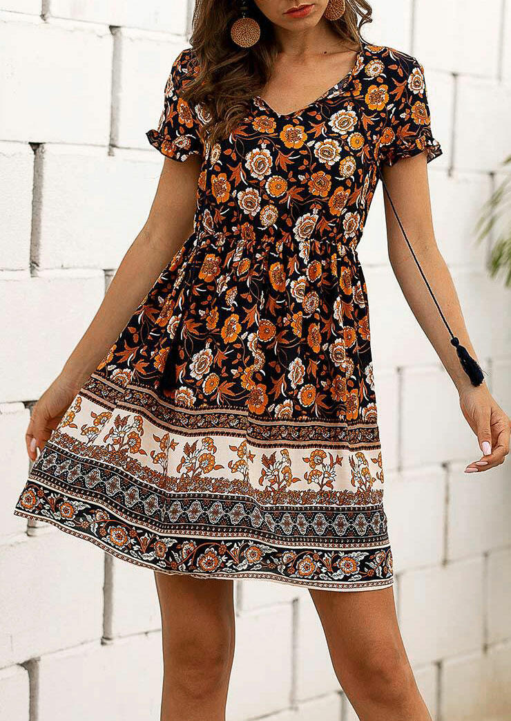 Floral Ruffled Lace Up V-Neck Mini Dress - without Necklace