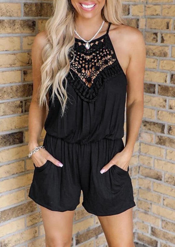 Lace Splicing Drawstring Pocket Romper without Necklace - Black
