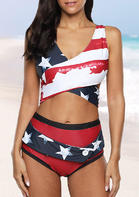 American Flag Criss-Cross Bikini Set - Red