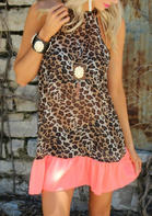 Leopard Splicing Ruffled Mini Dress without Necklace