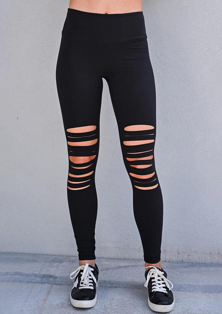 Hollow Out High Waist Sports Skinny Legging - Black