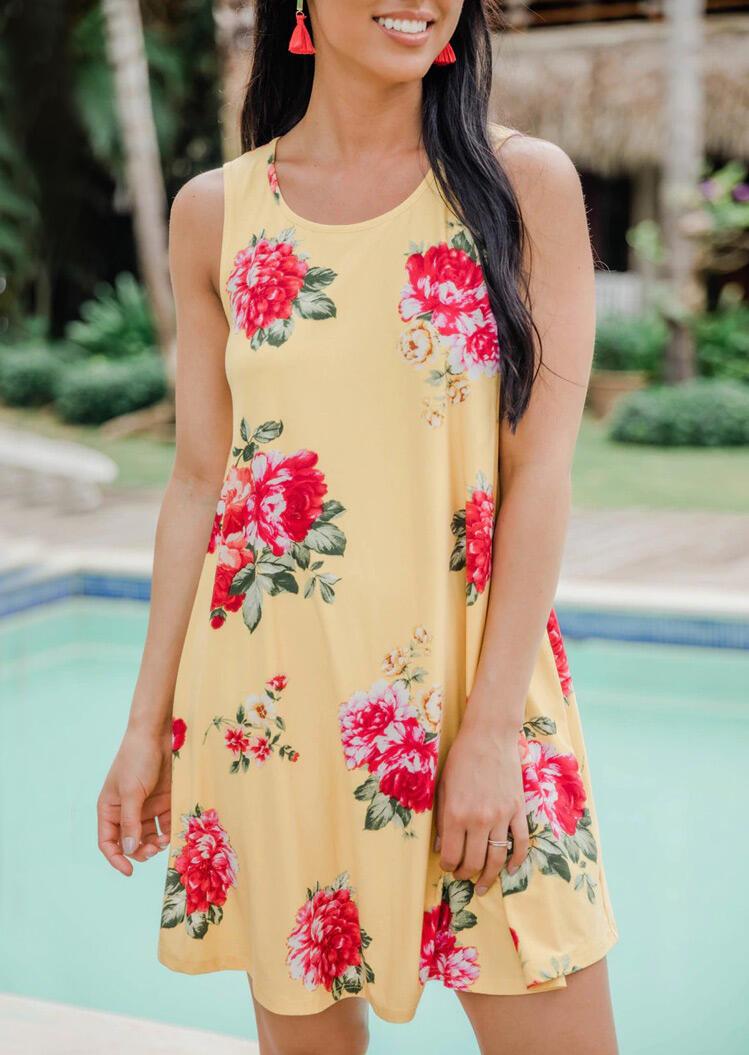 Floral O-Neck Sleeveless Mini Dress - Yellow