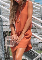 V-Neck Slit Sleeveless Mini Dress without Necklace - Orange