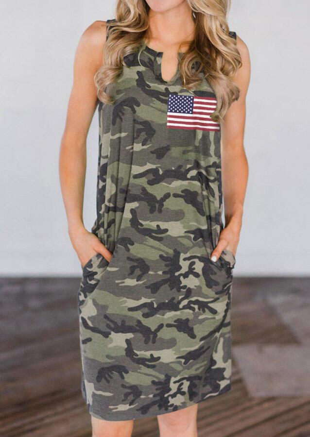 American Flag Star Camouflage Pocket Mini Dress