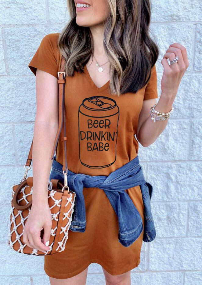 Beer Drinkin' Babe Mini Dress without Necklace - Brown