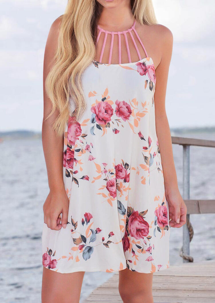 Floral Hollow Out Mini Dress - White