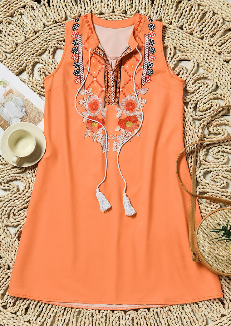 Floral Geometric Tassel Drawstring Sleeveless Mini Dress - Orange