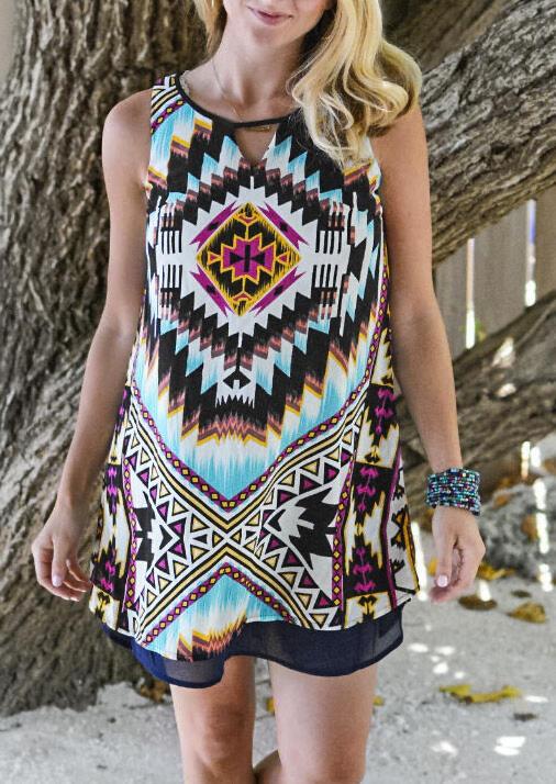 Aztec Geometric Hollow Out Mini Dress without Necklace