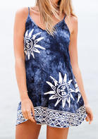 Tie Dye Geometric V-Neck Spaghetti Strap Mini Dress - Blue
