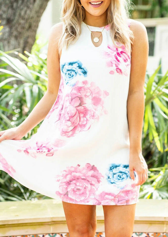 Floral Hollow Out Sleeveless Mini Dress without Necklace - White