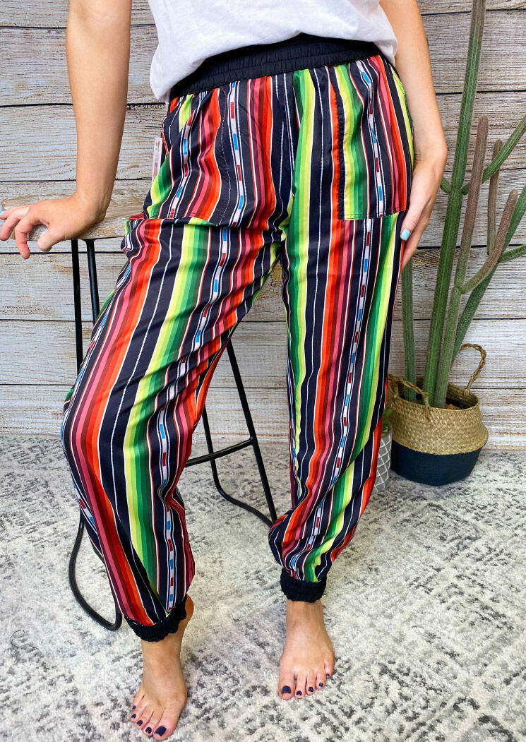 Colorful Serape Striped Splicing Elastic Waist Pants