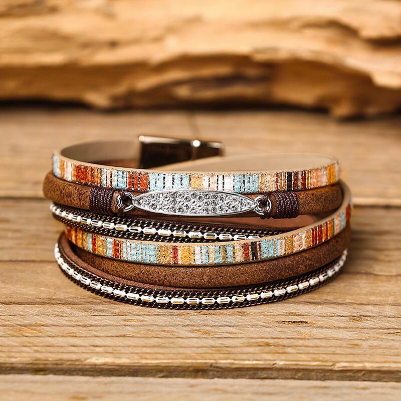 Bohemian Rinestone Hand-Woven Multi-Layered Bracelet