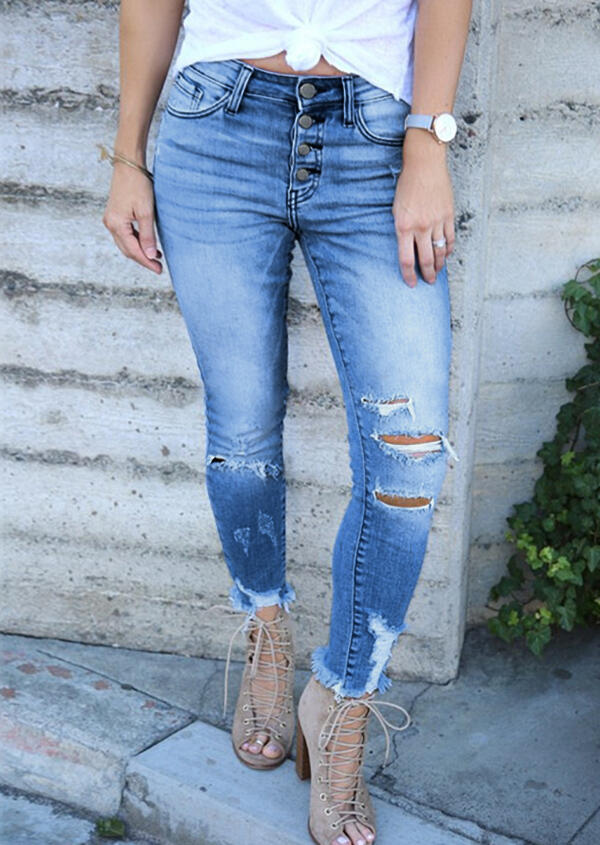 Hollow Out Ripped Hole Pocket Button Denim Jeans - Blue