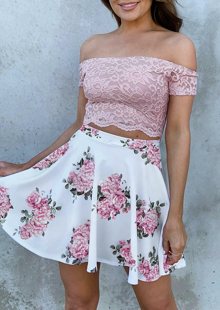 Hollow Out Floral Lace Splicing Off Shoulder Mini Dress - Pink