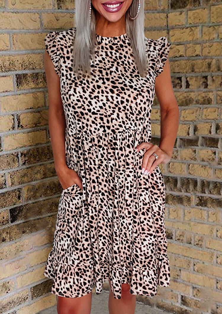 Leopard Ruffled Pocket Button Cap Sleeve Casual Dress