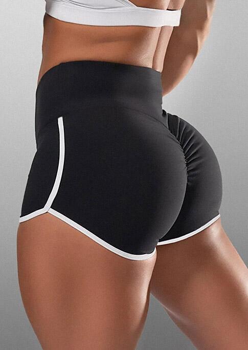 Color Block Activewear Fitness Sports Shorts - Black