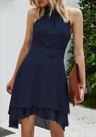 Asymmetric Halter Button Zipper Open Back Mini Dress - Navy Blue