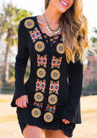 Vintage Floral Lace Up Mini Dress without Necklace - Black