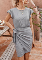 Ruffled Wrap Tie Mini Dress without Necklace - Gray